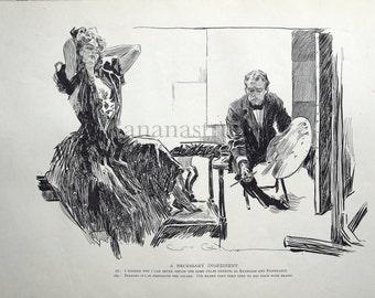 Gibson Girl - Missing Ingredient- Humorous 1906 Antique Charles Dana Gibson Print