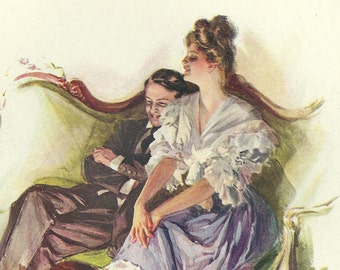 1907 Antique Harrison Fisher Illustration. The Light of Love is Here. From A Dream of Fair Women