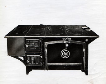 Antique Linen-Backed Black-and-White Photograph of a Vulcan Stove from the Oxford-Gurney Foundry Co.