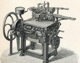 Antique Print of Typesetting Equipment - 1894 German Antique Engraving