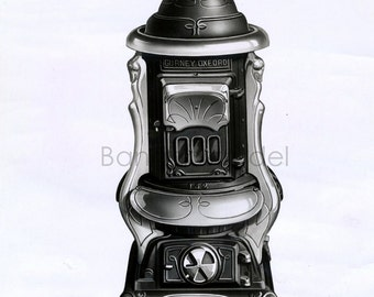 Late 1800s to early 1900s Antique Linen-Backed Black-and-White Photograph of an OAK Stove from the Gurney-Oxford Foundry Co.