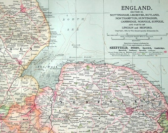 1903 Antique Map of England - Nottingham, Leicester, Rutland, Northampton, etc. - Section III. - England Antique Map
