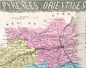 Antique Map of Pyrenees-Orientales, France - 1883 Illustrated Map - Hand-Coloured - Vintage Map - Home Decor