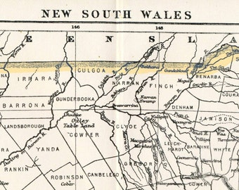 1890s Antique Map of New South Wales, Australia - Australia Antique Map - New South Wales Antique Map