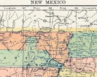 1890s Antique Map of New Mexico - New Mexico Antique Map