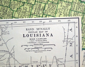 1943 Vintage Map of Louisiana - Blue and Emerald Green Map