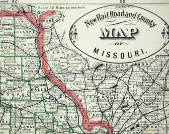 1883 Antique Railroad and County Map of Missouri - Antique Railroad Map - Missouri Antique County Map