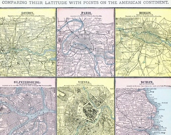 1888 Antique Map of Principal Cities of the Old World. London, Paris, Berlin, Rome, etc.