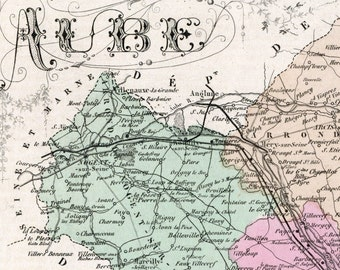 Antique Map of Aube, France - Hand-Coloured - 1883 Illustrated Map - Vintage Map