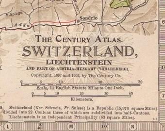 1902 Antique Map of Switzerland and Liechtenstein - Switzerland Antique Map - Liechtenstein Antique Map - Century Atlas