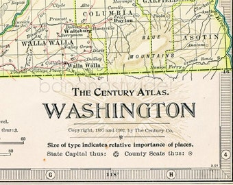1902 Antique Map of the State of Washington - Washington Antique Map - Century Atlas - Washington State Antique Map