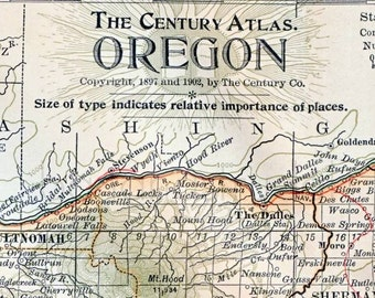 Antique Map of Oregon - 1902 Vintage Map