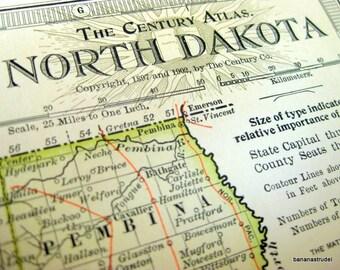 1902 Antique Map of North Dakota- Century Atlas Map
