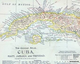 Antique Map of Cuba, Haiti, Jamaica, and Trinidad - 1902 Century Atlas Map