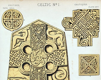 Antique Owen Jones Print - Celtic Design No. 1 - Plate 63 - Rare 1868 Design Chromolithograph - Grammar of Ornament