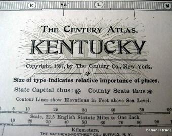 1902 Antique Century Atlas Map of Kentucky
