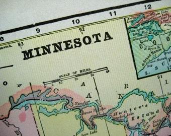 1901 Vintage Map of Minnesota - Old Map of Minnesota