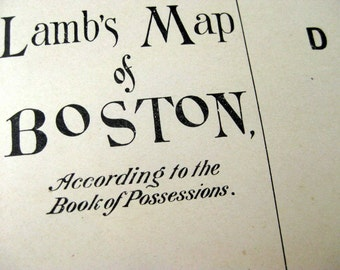 1882 Vintage Print of Lamb's Map of 17th Century Boston, Massachusetts