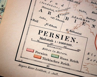 1899 Antique Map of Persia - Map of Iran