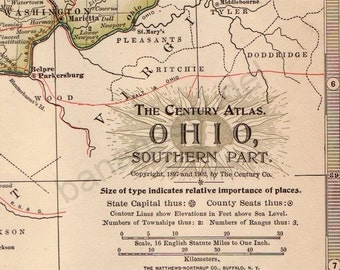 1902 Antique Map of the Southern Part of Ohio - Ohio Antique Map - Century Atlas - Antique Ohio Map