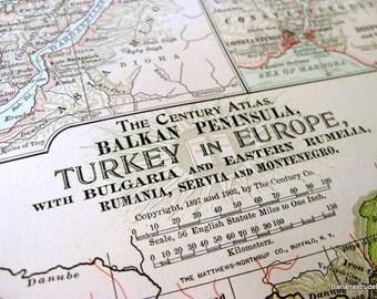 1902 Century Atlas Vintage Map of Turkey in Europe. Antique Turkey Map With Balkan Peninsula, Bulgaria, Rumania, etc