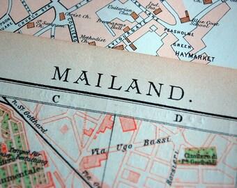 1908 Vintage Map of Milan, Italy - Milan City Map