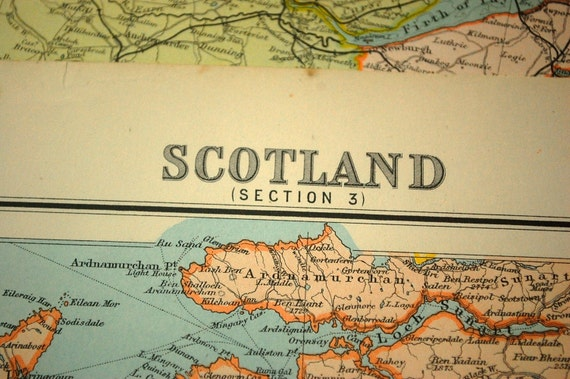 1898 Large Antique Map of Southwest Scotland, with an inset of Glasgow. Section 3\/4