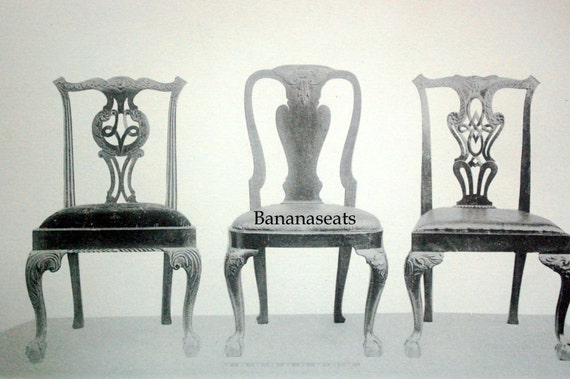 1900 Vintage Print of English Household Furniture. Three Chippendale Chairs. Plate 39 - Black and White