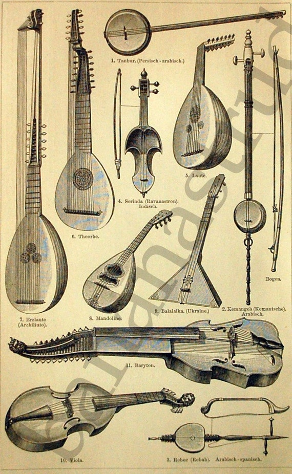 Antique German Engraving of Musical Instruments No. 2