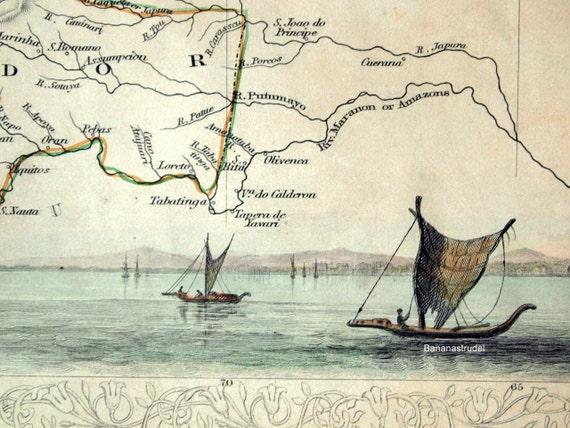 1851 Antique Hand Coloured John Tallis Map of Venezuela, New Granada, Ecuador, and the Guayanas