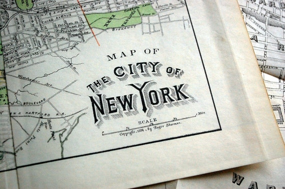 1884 Rare Antique 24 Inch Long Map of the City of New York