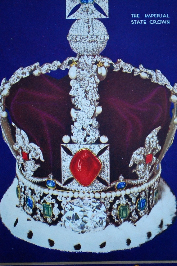 1937 Vintage Plate of The Imperial State Crown of England and other Hallmarks of the British Empire