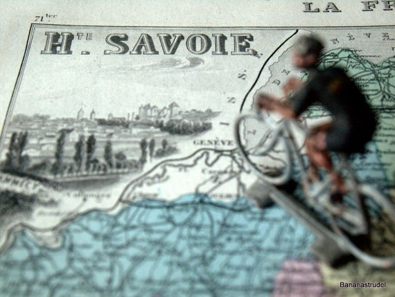 1883 Antique Hand Coloured Map of the Haute Savoie Departement, France.