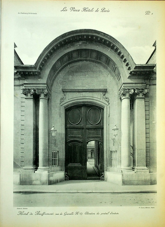 1912 Large Exquisite Antique Plate of the Main Entrance to an Old Building in Paris. Plate 1