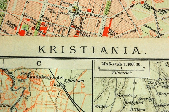 1894 Antique City Map of Christiana, Kristiania, or Oslo, Norway