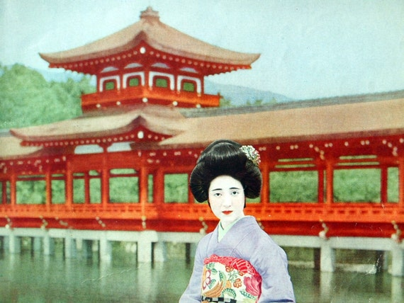 1932 Vintage Japanese Print of a Japanese Woman in Traditional Dress. No. 2