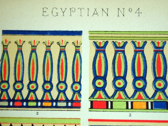 1865 Simply Stunning Antique Chromolithograph from the Grammar of Ornament by Owen Jones. Egyptian No. 4. Plate 7
