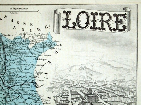 Antique Map of Loire, France - 1883 Illustrated Map - Handcolored - Vintage Map - Home Decor