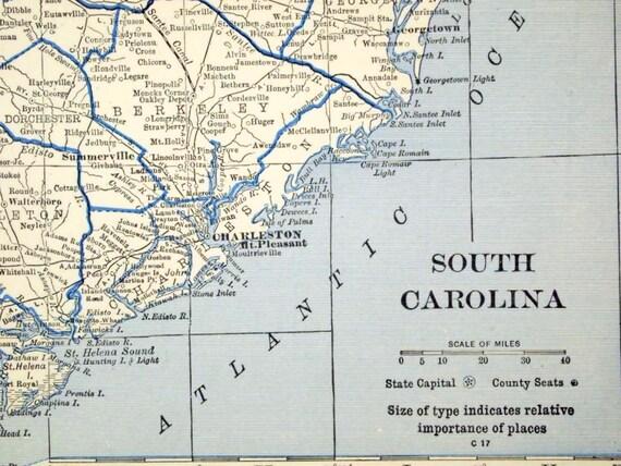 1929 Vintage Map of South Carolina