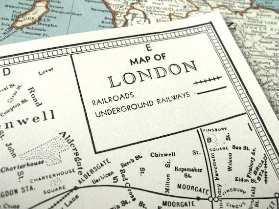 1937 vintage map of london central the uk vintage london map old london map from bananastrudel on etsy studio