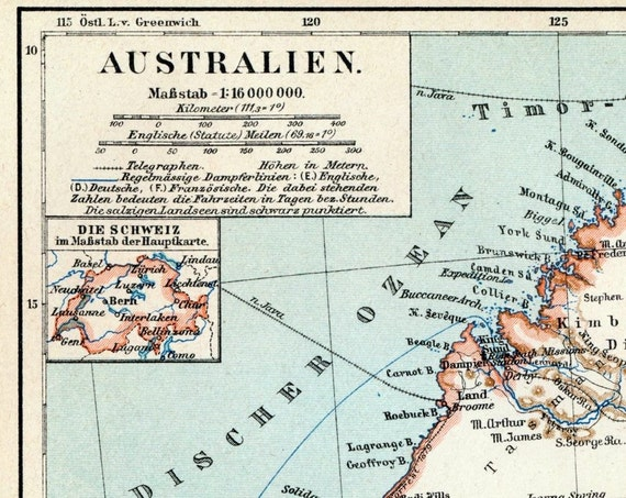 1894 German Antique Map of Australia