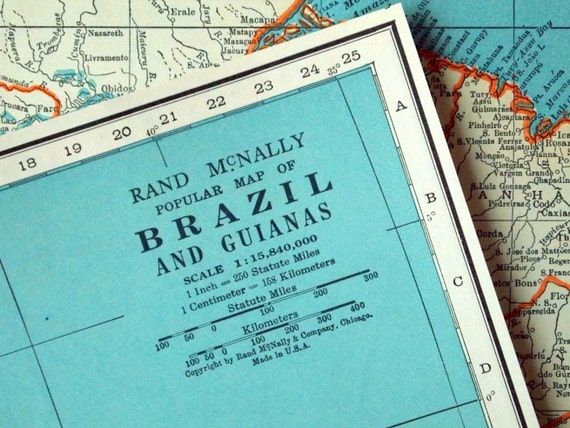 1937 Vintage Map of Brazil and the Guianas