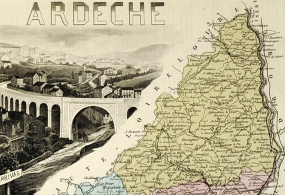 1883 Antique Hand-Coloured Map of the Ardeche Departement, France.