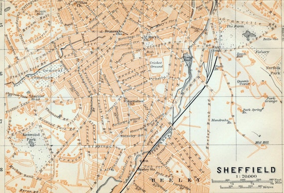 1906 Antique City  Map of Sheffield, the UK