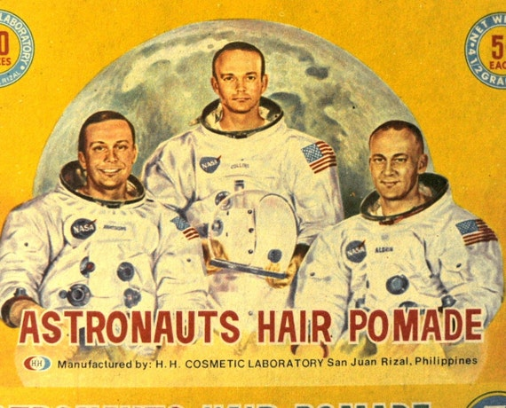 Circa 1969 Rare Vintage Ephemera Packaging. Another Giant Leap for Hair Pomade