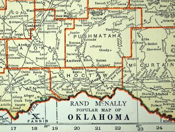 1937 Antique Map of Oklahoma - Oklahoma Antique Map - Antique Oklahoma Map