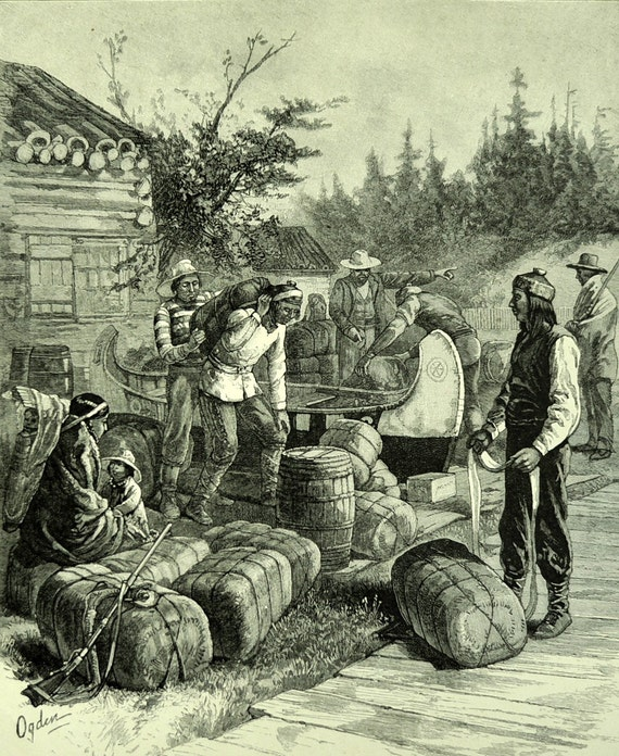 1886 Antique Engraving of Employees at the Hudson's Bay Company, Canada