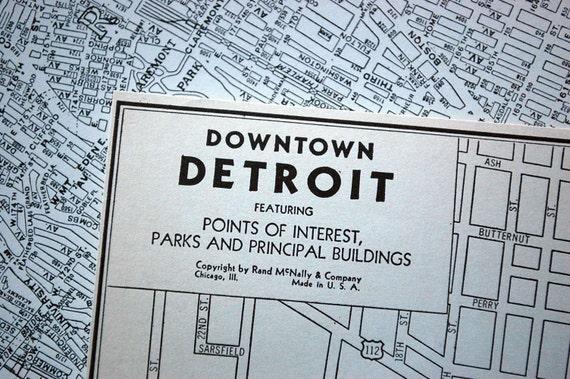1937 Vintage City Map of Downtown Detroit, Michigan