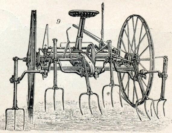 Antique Print of Farm Equipment 2 - 1902 Vintage Engraving