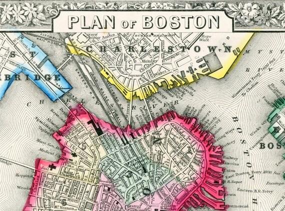 1864 Gorgeous Antique Hand-Coloured Mitchell Street Map of Boston, Massachusetts